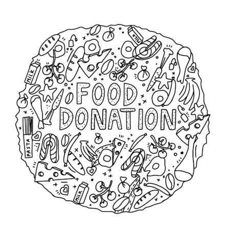 Food donation hand drawn vector illustration in doodle style.