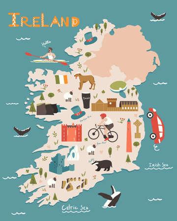 Ireland nature landmarks, animals. Travel postcard, poster concept design