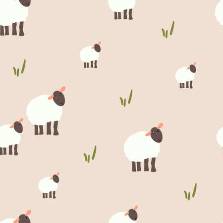 Pattern with lambs. Kid textile, wrapping paper, background
