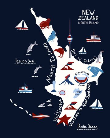 Map of North Island of New Zealand on blue background. New Zealand nature landmarks, animals. Travel postcard, poster concept design Vector Illustration