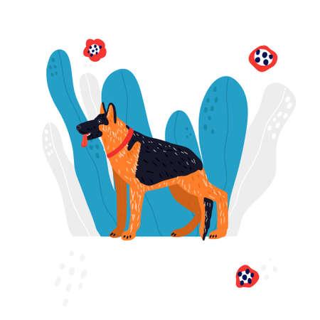 hand drawn vector illustration of Shepherd dog.
