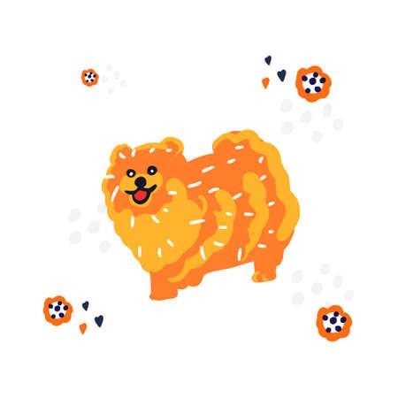 Hand drawn illustration of Spitz dog.