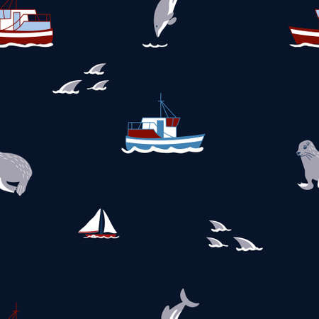 Pattern with different elements as boats, sharks, dolphins, seals cartoon illustrations. Sea life kid textile, wrapping paper, background Çizim