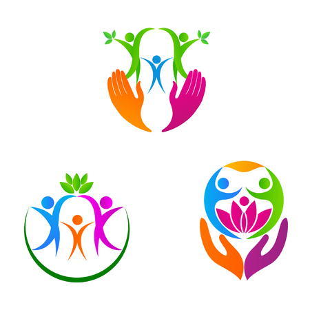 people helping people: A vector drawing represents care logo design.