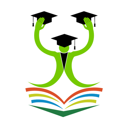 doctorate: The purpose of the happy graduation man design used for college and university sign and symbol.