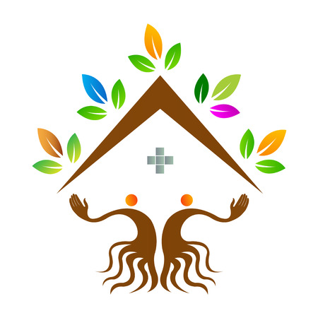 home care: Home care people tree design isolated on white background.
