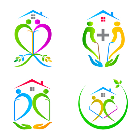 Care people logo vector design represents senior care concept. Ilustrace