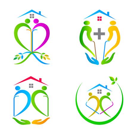 senior care: Care people logo vector design represents senior care concept. Illustration