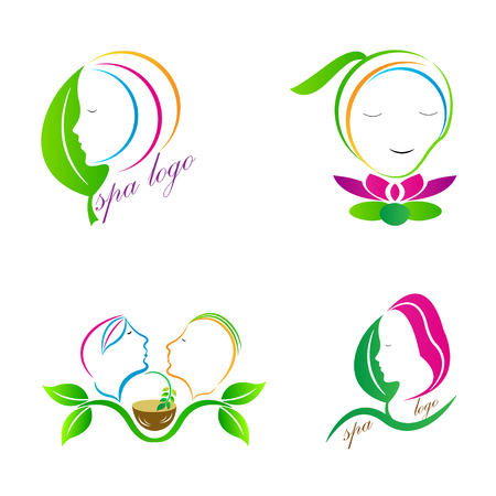 Spa and saloon logo design isolated on white background.