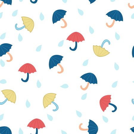 drops of water: Seamless pattern of umbrellas and water drops