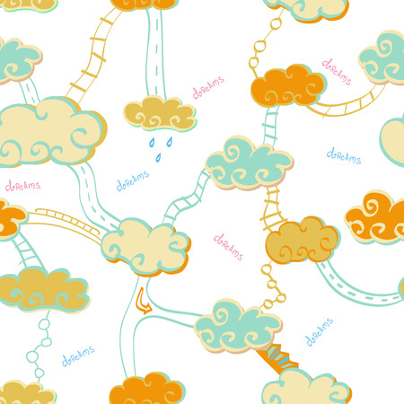 trap naar de hemel: Seamless pattern of clouds and stairs