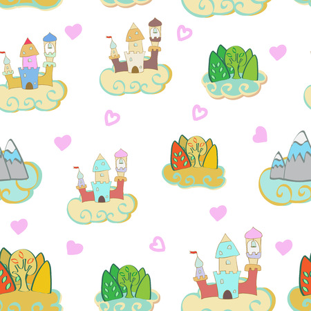 dream land: Seamless pattern of castles and clouds