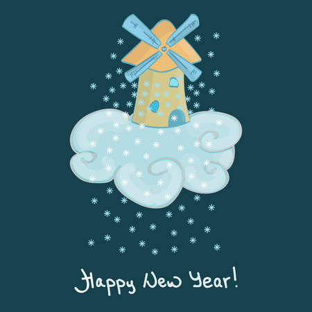 windstorm: happy new year card Illustration