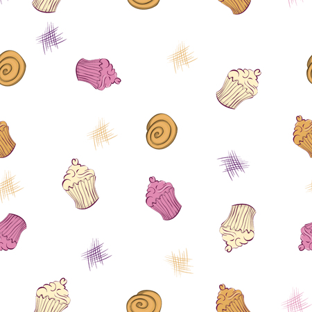 sugar cube: Seamless pattern of muffins and cakes on white background Illustration