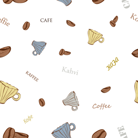 cappucino: Seamless pattern of coffee beans and coffee cups on white background Illustration