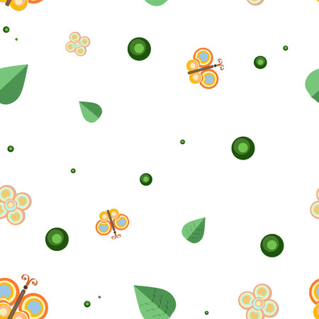 batterfly: seamless vector pattern of butterflies, flowers and leaves on white background Illustration