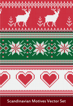 Seamless vector pattern set in red, green and white colors. Seamless pattern in scandinavian style. Knitted norwegian ornaments. Scandinavian motives vector set.