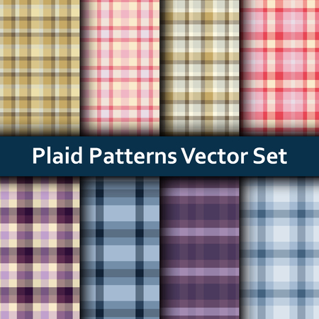 grey pattern: Vector set of seamless tartan patterns. Plaid pattern set with colorful beige, violet, pink and blue stripes.