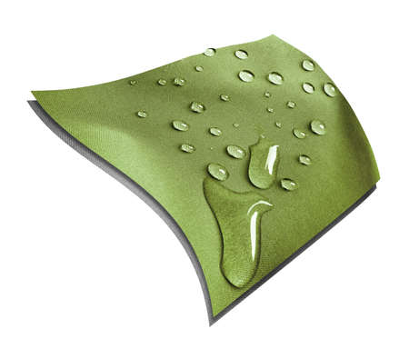 Technological khaki waterproof and breathable fabric with raindrops on a white background Banque d'images
