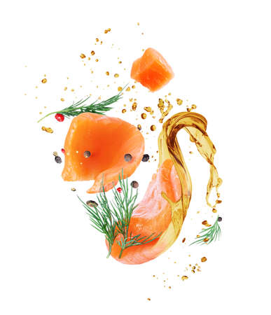 Slices of fresh red fish and flavored spices with a splash of oil close-up, isolated on a white background