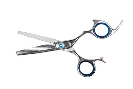 Professional haircutting scissors isolated on white background