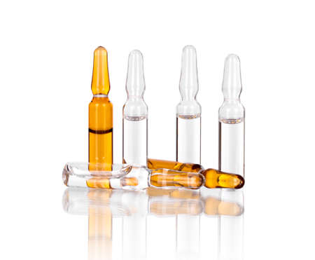 Medical ampoules for injection on white background Standard-Bild