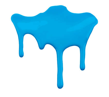 blue paint dripping isolated on white