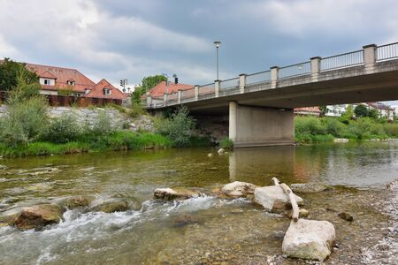 Bridge over the river Mangfall in the town Kolbermoor in Upper Bavaria, south of the city of Munich