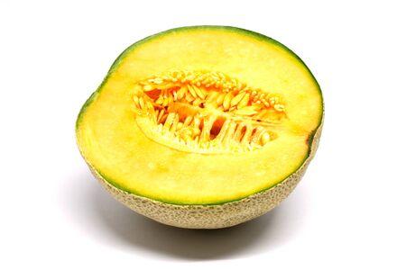 Halved cantaloupe melon, isolated on white background Stock fotó