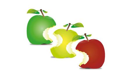granny smith apple: isolated, on, white, drink, fruits, vegetables, apple, fruit Illustration