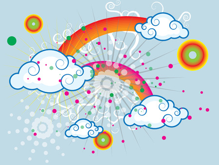 Summer iridescent sky with rain clouds and other abstract elements Vector