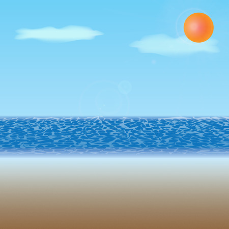 Sunny beach with few clouds and bright sun from which glowing reflections Vector