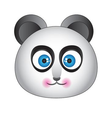 hocico: Panda con los ojos azules en un fondo blanco con un hocico lindo Vectores