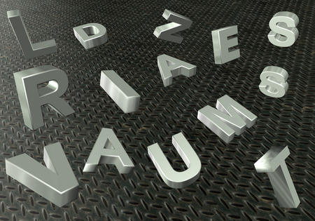 traction device: Texture of metal letters metallic silver color Stock Photo