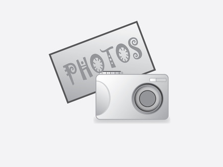 photo camera with gray background Illustration