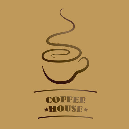 Brochures Coffee house in coffee color and flavor as a cup of coffee with steam Vector