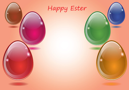 esther: Happy Easter eggs Esther synho purple red green brown orandzhevoho exposed as greeting cards for the holiday of Easter