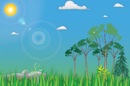 Cartoon Landscape with trees in front of terms and grass and stones on a background of blue sky with white clouds and bright summer sun with reflections Vector