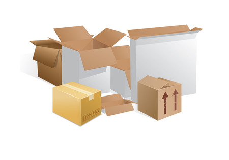 brownish: boxes whitish gray and brownish gray akryti half open and half open and closed with shadows on a white background