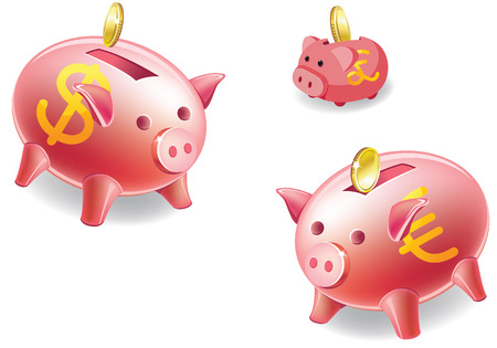kopilka money as a pig in number three pigs pink Color of coins that are akyduyut and Sims amnrekanskoho dollar European Euro and the British pound Vector