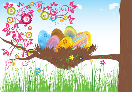 bunt: Easter cakes warm spring day the green grass with flowers on a background of blue sky and a tree with a nest on it containing Easter eggs Illustration