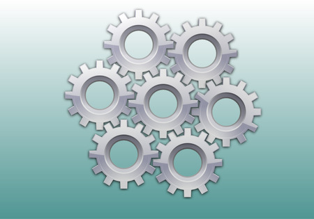 technology symbols metaphors: Gear gray with reflections in the amount of seven pieces on gray blue background Stock Photo