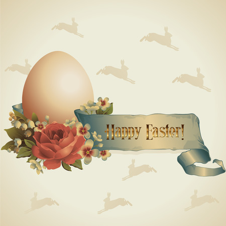 Happy Easter  Easter egg in a nest with a bouquet of flowers on a brown background with milk hares Vector