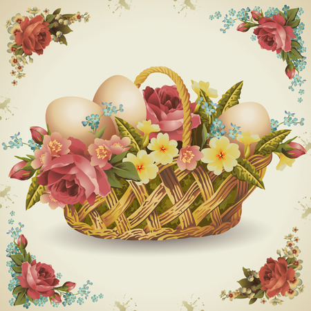Easter basket with flowers in which rozmizheni Easter eggs Easter eggs in milk brown background Vector