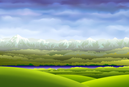 mountainous: The sky over the mountains in the illustration we see mountainous terrain at the foot of the mountains which rohlylas small river and over the mountains which are hanging pretty cool summer sky Illustration