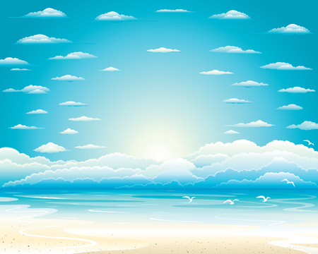 The sky over the sea gulls flying over which we in the midst of heaven batsymo crisp white glare of the sun around which accommodated clouds Vector