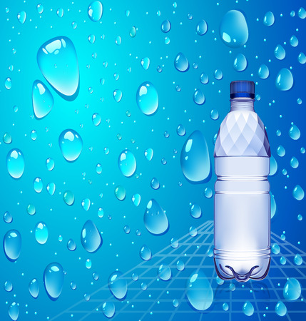 bottle of water 1.5 liter and a half on blue background with a bluish tint blue water drops