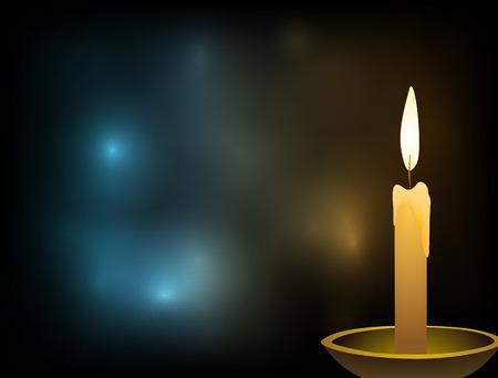 bougie dans le chandelier dans un bol d'argile yhlyadi sur fond abstrait avec sensation légère qui va de la bougie et sa flamme