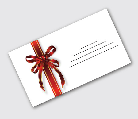 colic: Postal RPZ white envelope colic with festive ribbon with two red stripes olotysmymy