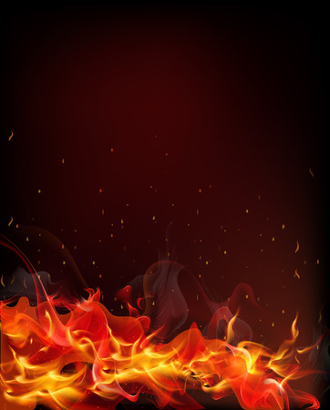 scorched: fire which spread from the tongues of flame from which soar into the air and heat scorched particles on a black background Illustration